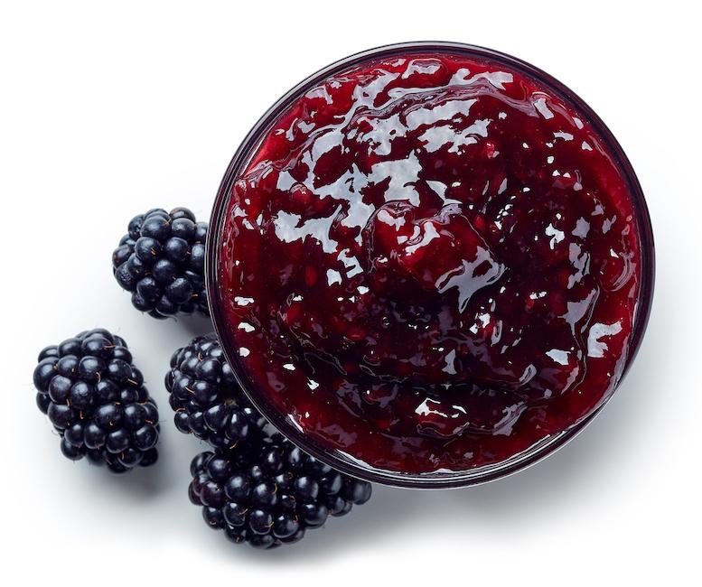 Bowl of blackberry jam