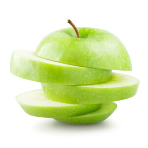 Green sliced apple over white background.
