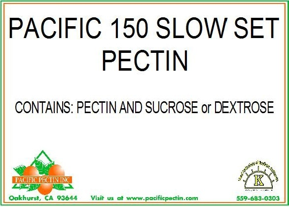PACIFIC 150 GRADE SLOW SET PECTIN: Industrial use pectin standardized with Dextrose or Sucrose.