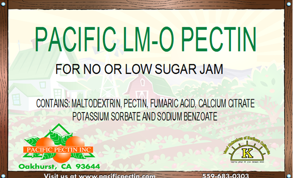 PACIFIC LM-O PECTIN: For no or low sugar jams and jellies.  Contains preservatives.
