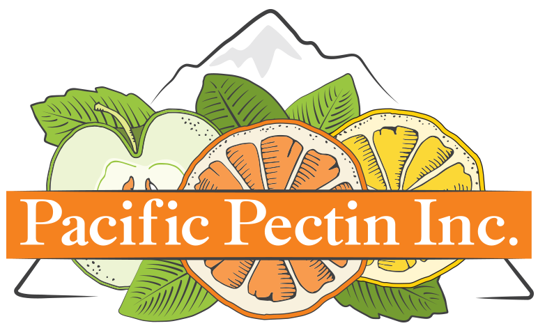 Pacific Pectin Inc. Logo with mountain and fruit
